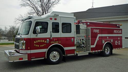 A new fire engine outside the Aurora Fire Department
