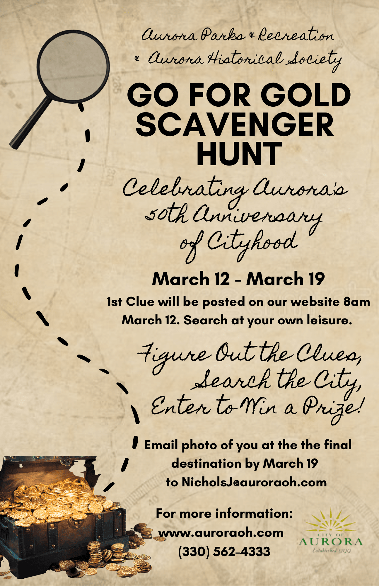 Go for Gold Scavenger Hunt Flyer PNG